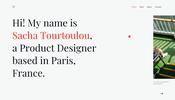 大胆なページ遷移とフォントに対するアニメーションが面白い Sacha Tourtoulou さんのポートフォリオサイト