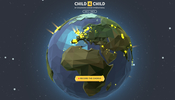 可愛らしい地球モデルが宇宙に漂う小児ガンをテーマにした慈善活動のサイト